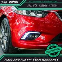 Car Flashing 2 Pcs DRL For Mazda 6 Mazda6 Atenza 2013 2014 2015 LED DRL Daytime Running Lights Daylight Fog light cover