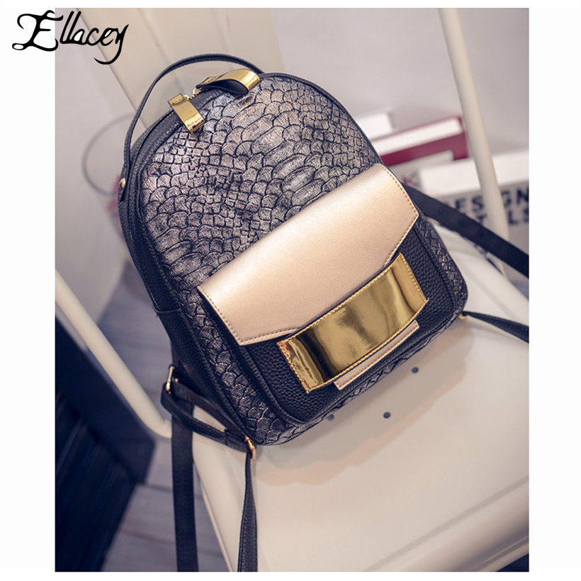 New 2017 Classic Serpentine Women Backpack Gold Stylish School Bags Fashion PU Leather Backpacks Cool Leisure
