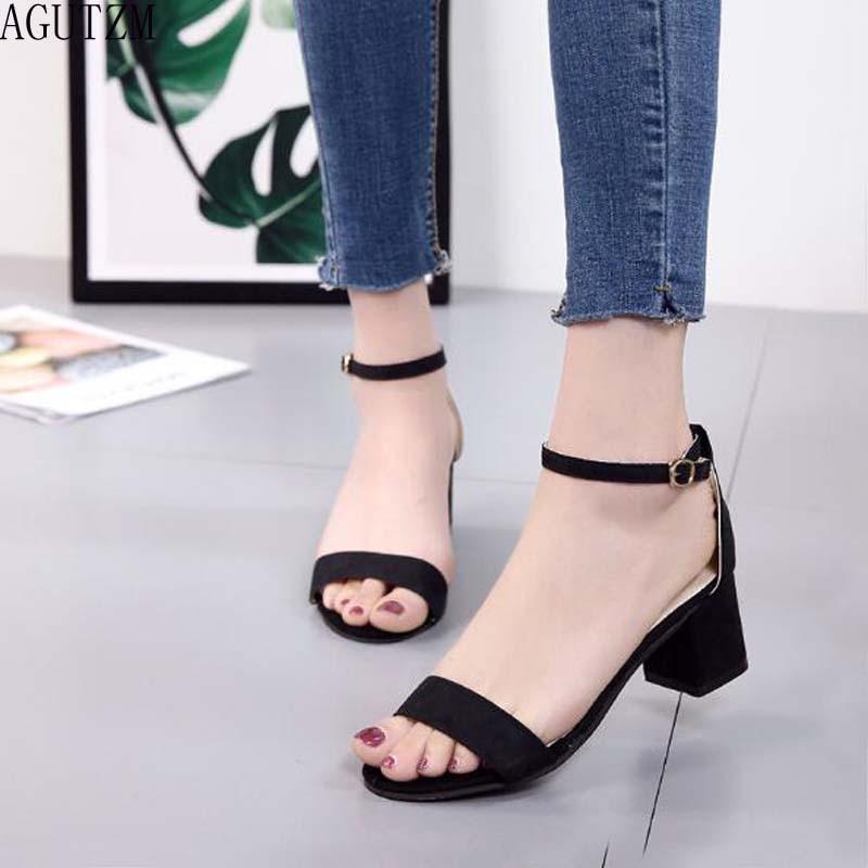 AGUTZM 2018 Summer Women Sandals Open Toe Flip Flops Womens Sandles Thick Heel Women Shoes Korean Style Gladiator Shoes V342