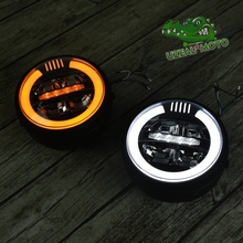 6.9 inch Vintage motorcycle Headlight LED modification custom general Daytime running light ring yellow white Retro