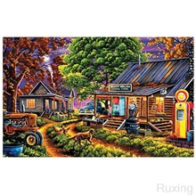 DIY Diamond painting Little Village SceneryPainting Picture 5D Cross Stitch  Embroidery Christma sInterior mural gift