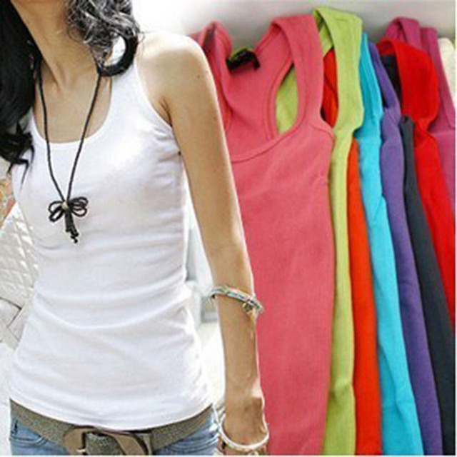 The new one-piece cylinder sleeve wild casual women's Tops. Cami No Sleeve T-Shirt