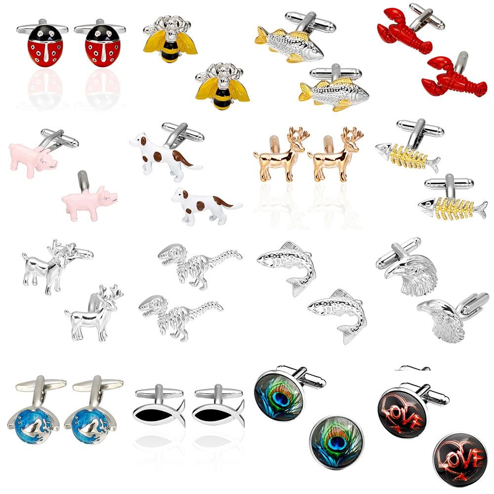 Memolissa 2018 High Quality Bee Fish Lobster, Pig, Dog, Dinosaur Deer Horse Cufflinks Vehicle Animals Cuffs