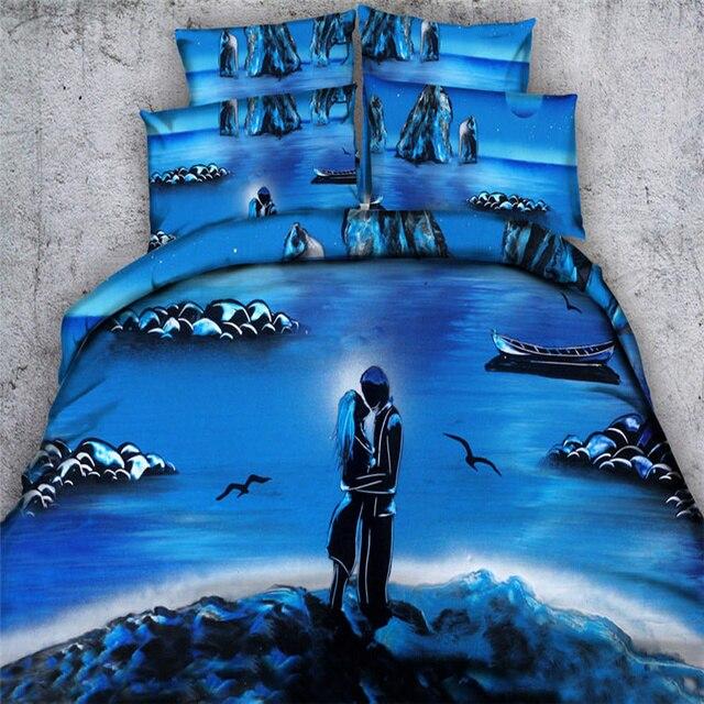romantic blue bedding sets 3d lovers boy girl river duvet cover twin full queen king size