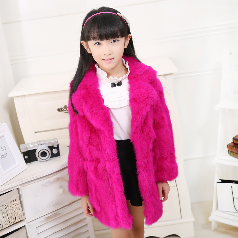 2017Fashion Children Rabbit Fur Suit Coat Autumn Winter Girls Warm Thick Coat Long Section Outwear Kids Jacket Fur Clothing C#25 children real crystal fox fur coat 2017 new autumn winter girls boys natural fur coat clothing warm kids thicken jacket
