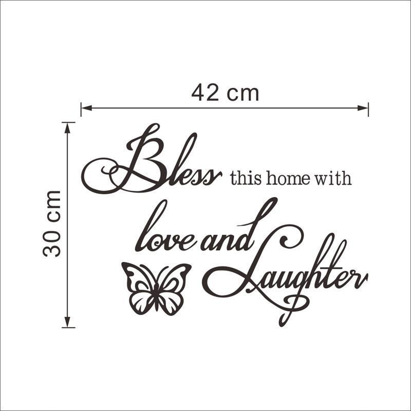 8386* new Love laughs butterfly quote wall sticker 8386 Hoom decor art mural on removable vinyl direct delivery