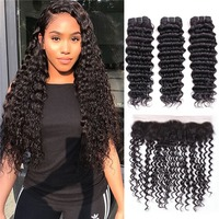 Brazilian Deep Wave Human Hair 3 Bundles with Closure 13x4 Ear To Ear Lace Frontal Closure Non Remy Human Hair