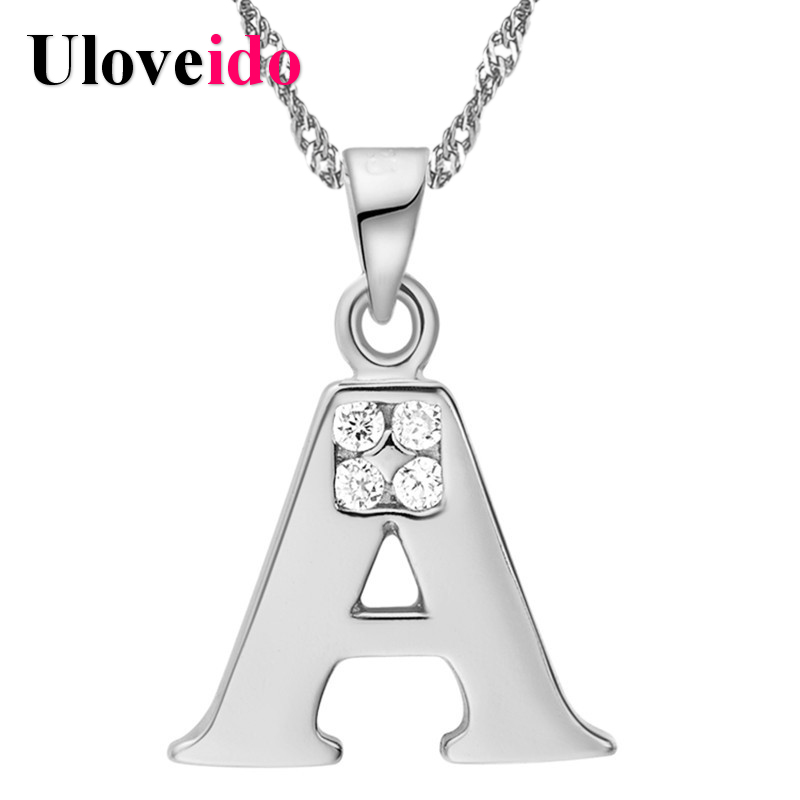 Silver Color Letter A B C D E F G H I J K L M N O P Q I S T U V W X Y Z Pendant Necklace with Chain Crystal New Year Gifts 15%