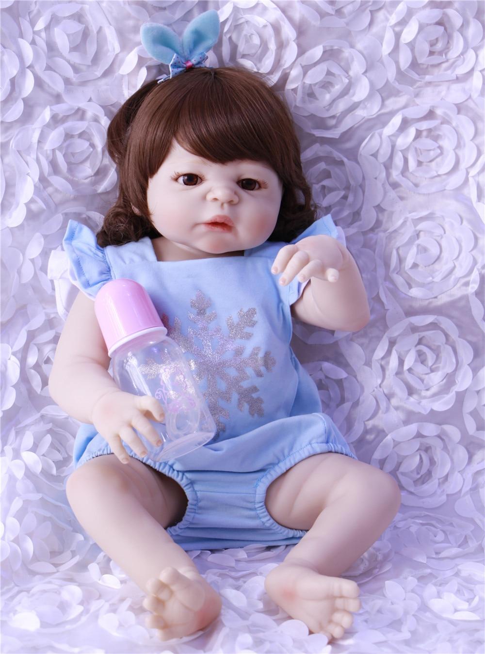 New Design 23 Reborn Baby Dolls Toy Lifelike Full Vinyl Babies Girl Wear  blue clothes Lovely Realistic Boneca Dolls RebornNew Design 23 Reborn Baby Dolls Toy Lifelike Full Vinyl Babies Girl Wear  blue clothes Lovely Realistic Boneca Dolls Reborn