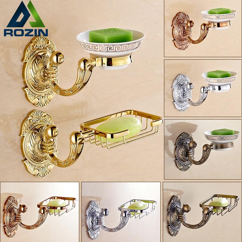 ФОТО Artistic Wall Mounted Brass Bathroom Decorative Soap Dish Wall Mounted Golden Antique Bath Kitchen Soap Dish Basket