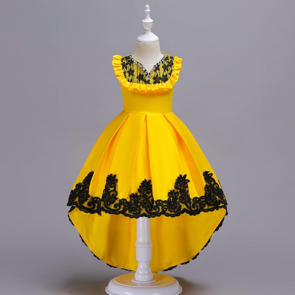 New Princess Girls Dress Summer Evening Party Kids Dresses for Girls Trailing Wedding Dress Children Costume for Kids Clothing