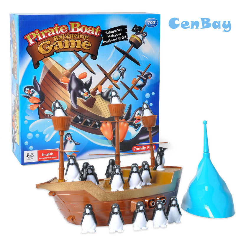 Funny Party Pirate Boat Balancing Game Penguins Balance Parent-child Interactive Toys Indoor Family Game for Kids Birthday Gifts