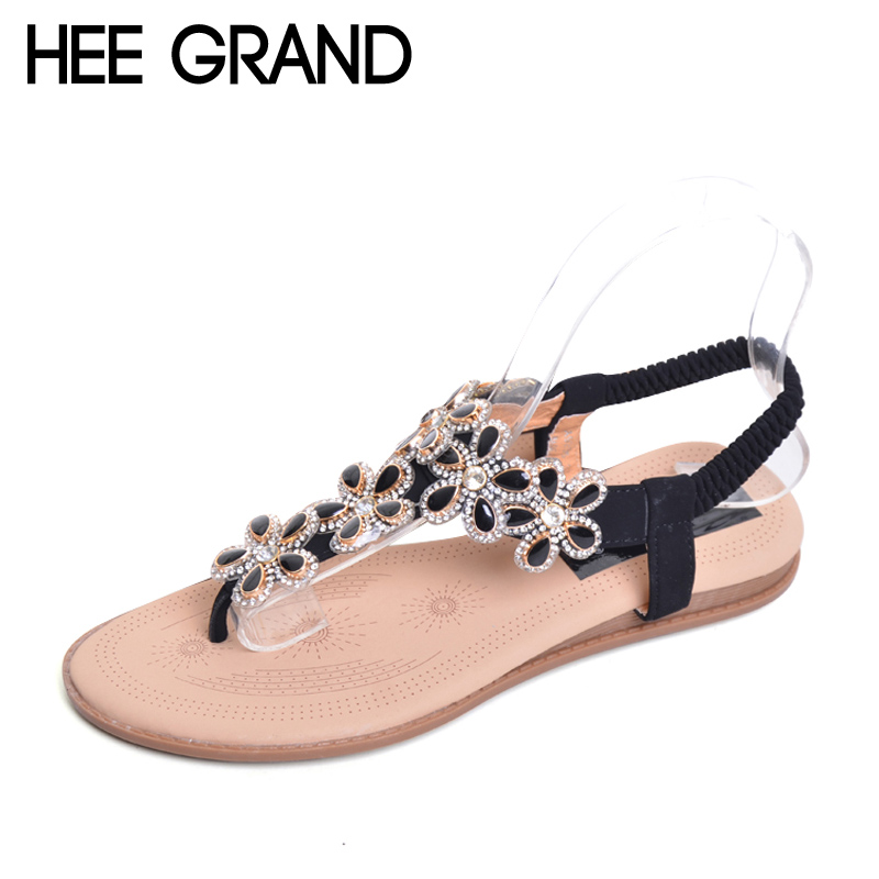 HEE GRAND Bohemia Flip Flops 2017 Casual Gladiator Sandals Slip On Flats Bling Platform Flats Shoes Woman Size 35-41 XWZ3652 hee grand gladiator sandals summer style flip flops elegant platform shoes woman pearl wedges sandals casual women shoes xwz1937