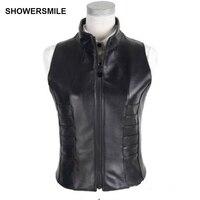 SHOWERSMILE Black Genuine Leather Vest Womens Real Sheepskin Waistcoat Sleeveless Jacket With Zipper Short Slim Gilet