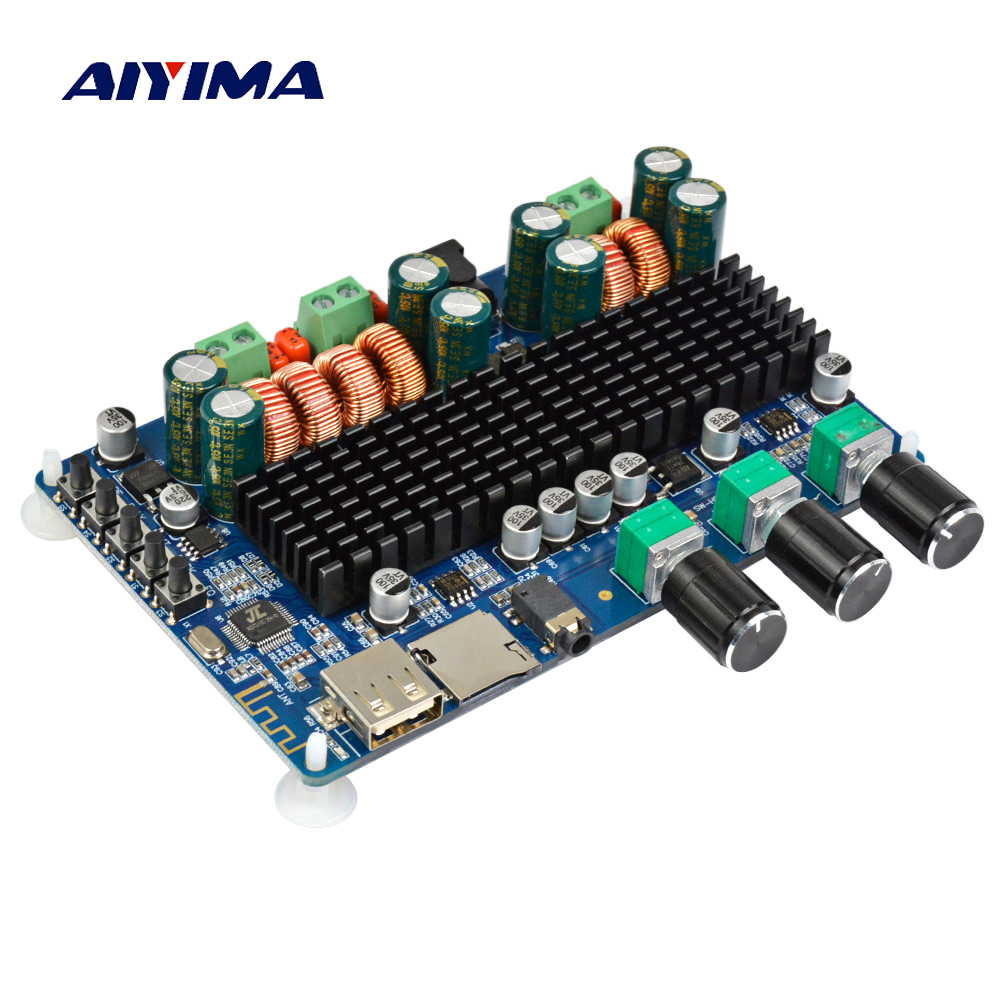 Aiyima TPA3116 Audio Amplifier Board Amplificador 2.1 Channel Digital Bluetooth Amplifier Board 50W+50W+100W aiyima tpa3116 4 1 bluetooth amplifiers audio board digital class d amplifier 4 50w 100w amplificador audio 24v car subwoofer