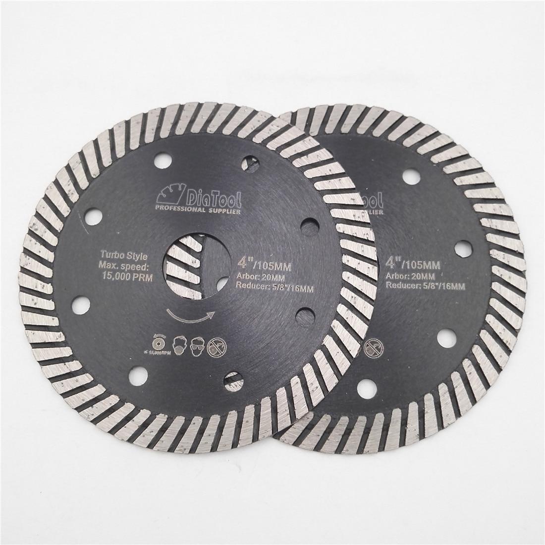DIATOOL 2 pcs Diamond Hot Pressed Turbo Blades Granite Marble Cutting Disc Multi Holes Sawblades Diamond Cutting Discs Wheel цена