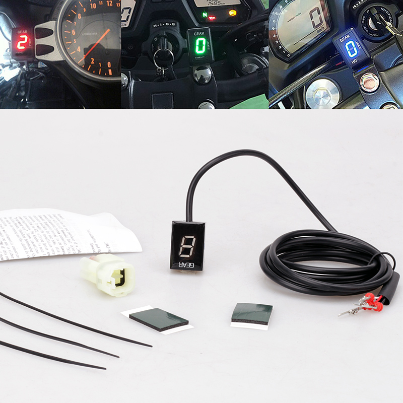 For Kawasaki NINJA 250R 300 400 400R 650 650R 1000 ZX6R ZX6RR LED Electronics 1 6 Level Gear Indicator Moto Speed Digital Meter