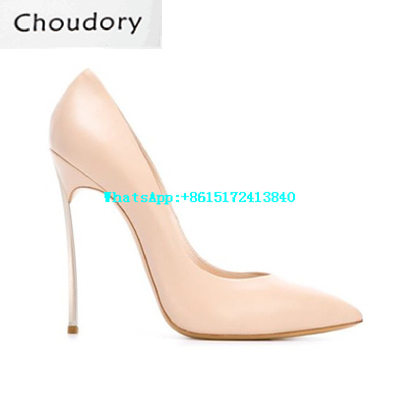 Choudory Solid Shallow Pointed Toe Thin Heels Women Pumps Super High Heels Slip-On Shoes Woman Designer Genuine Leather Shoes