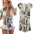 2016 short white floral print casual jumpsuit romper Fashion Summer Style Bohemian beach short playsuit Women overalls