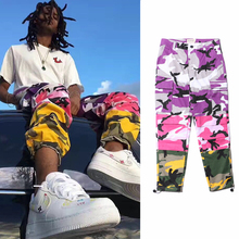 Camouflage overalls stitching hiphop men and women straight leg Street Skateboard pants oversize Outdoor pants men argyle print straight leg pants