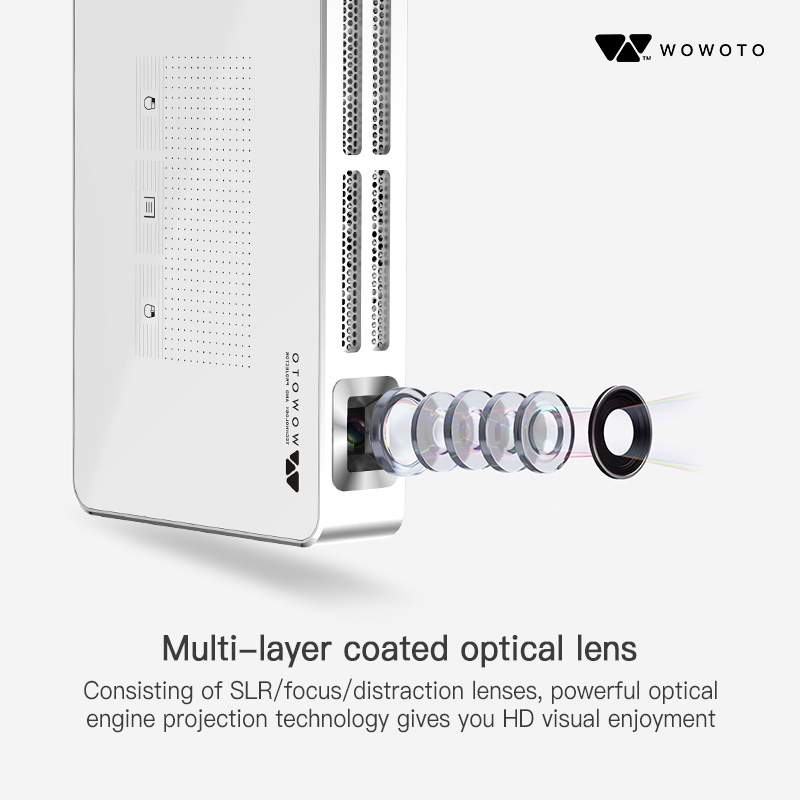 WOWOTO Projector Hight Resolution Full HD 1080P Projectors Android 7 1 Manual Focus Portable Projector For Home 3D Cinema A5