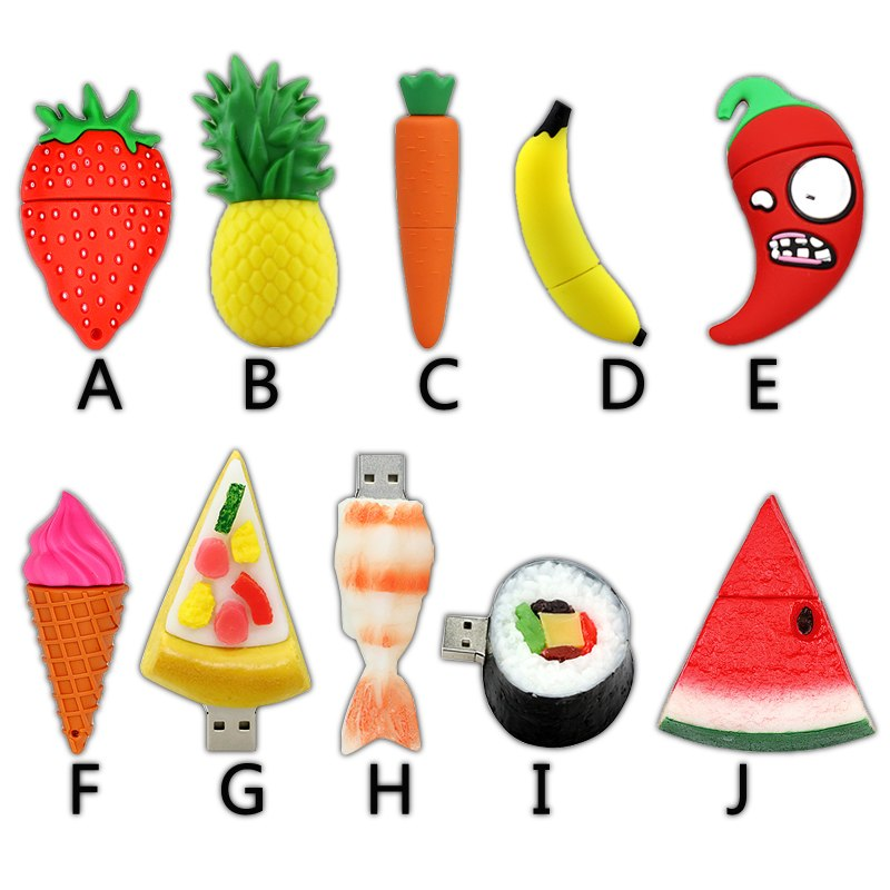 New Creative Food Fruit Pen Drive 4GB 8GB 16GB 32GB USB Flash Drive 64GB Usb2.0 Cartoon Memory Stick U Disk PenDrive Lovely Gift