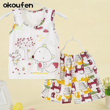 okoufen 2017 child boy garments swimsuit  cotton summer time boys physique swimsuit cartoon sleeveless shirt + shorts youngsters clothes units for boys