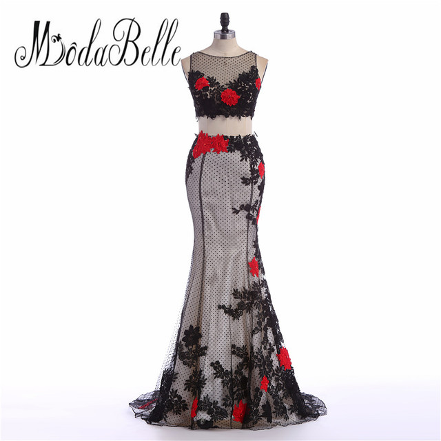 modabelle Lace Appliques Woman Arabic Black Red Mermaid Prom Dresses ...