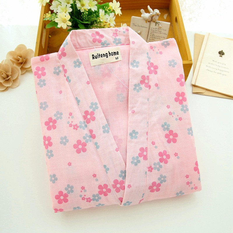fresh flower print yukata cotton gauze pajamas