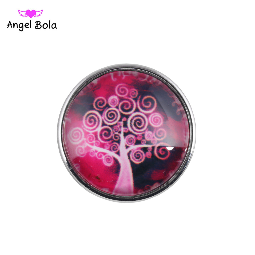 Interchangeable Ginger Snap Button Jewelry Life Tree Snap Buttons 18mm Glass Snap Charms Cartoon DIY Snap Jewelry NK002-131