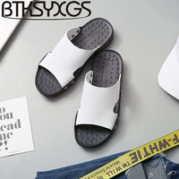 BTKSYXGS 2017 New Summer Mens Beach Slippers Leather Tide Fashion Comfortable Non Slip SIZE 38 47