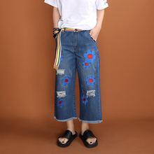 XYJ417 Original Design new arrival 2016 high quality flower embroidered ripped denim wide leg pants jeans women
