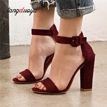 efb251e8b7 Mulheres sandálias de salto quadrado mulheres sapatos de verão mulher  sandálias de salto alto senhoras sapatos