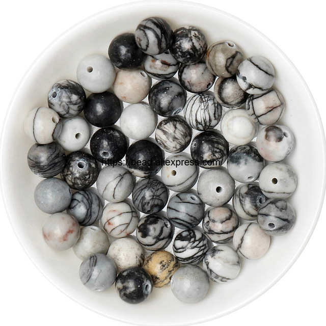 Free Shipping Natural Stone Black Spider Web Jaspers Round Loose Beads 15