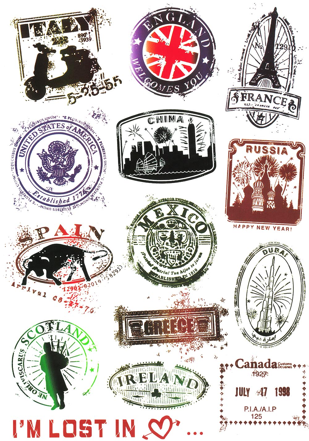 2017 New Design A4 Size Retro Stamp PVC Waterproof Notebook Suitcase Luggage Laptop Stickers For Mac Pro Skateboard DIY Sticker