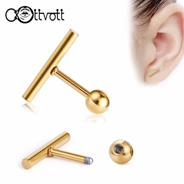 054cf8111 2pcs/lot Simple Ear Piercings Mens Womens Tiny Studs for Lobe Tragus Steel  T Shape Ear Plugs Barbell Piercing Minimalist ES528