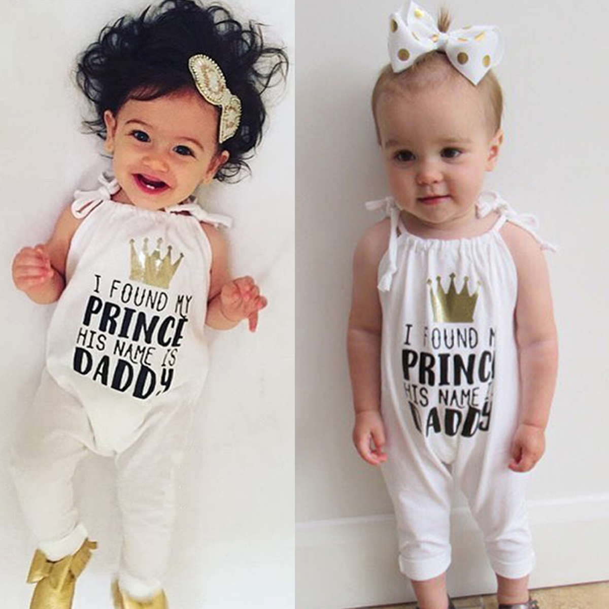 Newborn Infant Baby Girl Princess Romper Letter Print Jumpsuit Outfit Playsuit Clothes Sleeveless DADDY Romper Crown Jumpsuit newborn infant baby girl clothes strap lace floral romper jumpsuit outfit summer cotton backless one pieces outfit baby onesie