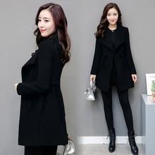 New Autumn Winter Women Coats Vestido Plus Size Slim Solid Fashion Turn-Down Collar Woolen Blends Coat For Women Large Outerwear
