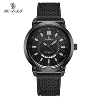 SENORS Black Dial Sports Men Watch Waterproof Male Clock Date Black Silicone Band Quartz Watches Role Fashion