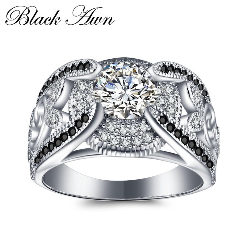 [NEGRO AWN] 5.4Gram genuino 925 anillos de la joyería de plata - Joyas