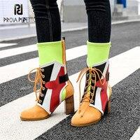 Prova Perfetto красочные Для женщин Высокие сапоги модные на шнуровке Мартинсы стрейч ткань носок сапоги на высоком каблуке Slim Fit Botas Mujer