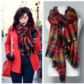 Winter 2014 Tartan Poppy Scarf Spain Luxury Brand Cashmere Oversized Pashminas And Shawls Womens Fashion Plaid Infinity Hijab