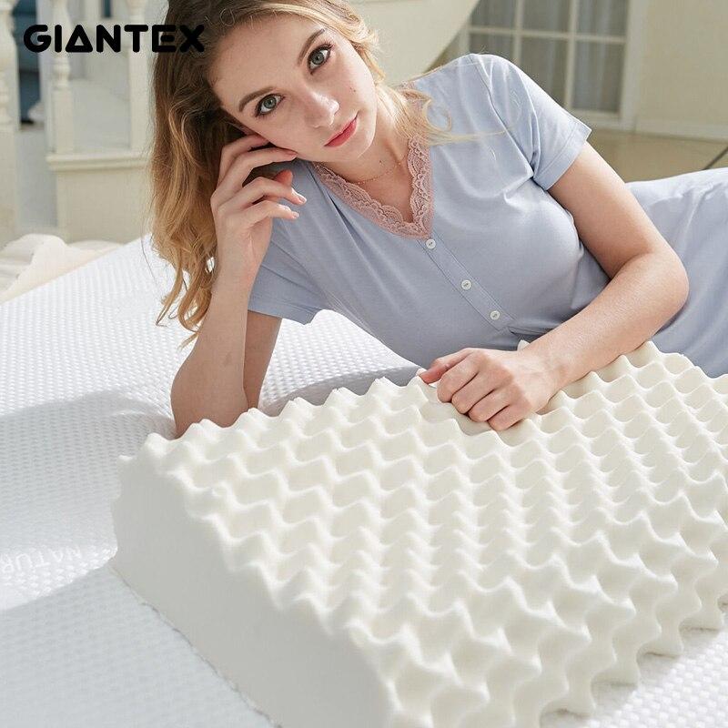 GIANTEX 60x38 см натуральный латекс подушки Спящая постельные принадлежности шейки массажная подушка здоровья шею связанного голову уход памяти...