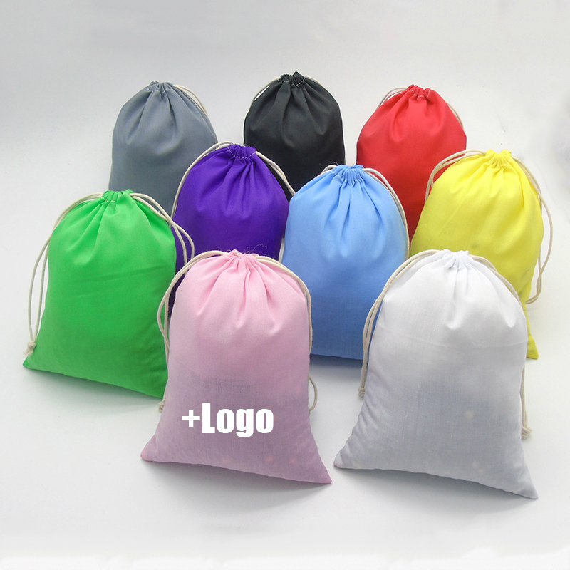 Large Drawstring <font><b>Bags</b></font> Soft Cotton <font><b>Packaging</b></font>/Jewelry/Shoe/Travel/Storage/Wig/ Pouch Container Cloth <font><b>Bag</b></font> Makeup Custom Logo 100PCS image