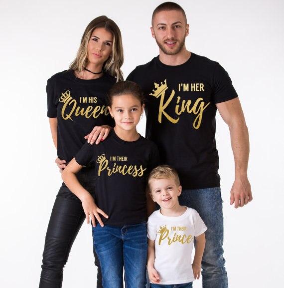 tienda de liquidación d75b2 5035b € 8.6  Camisetas familiares Rey reina juego trajes verano padre madre hija  hijo ropa 100% algodón mamá y yo familia T camisas-in Trajes iguales de ...