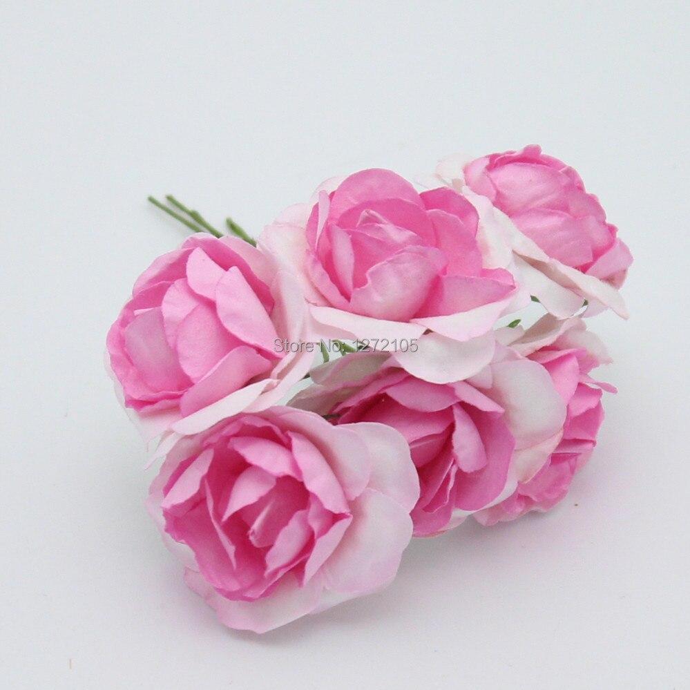 3cm 144pcslot Paper Flower Scrapbooking Rose Artificial Flowers