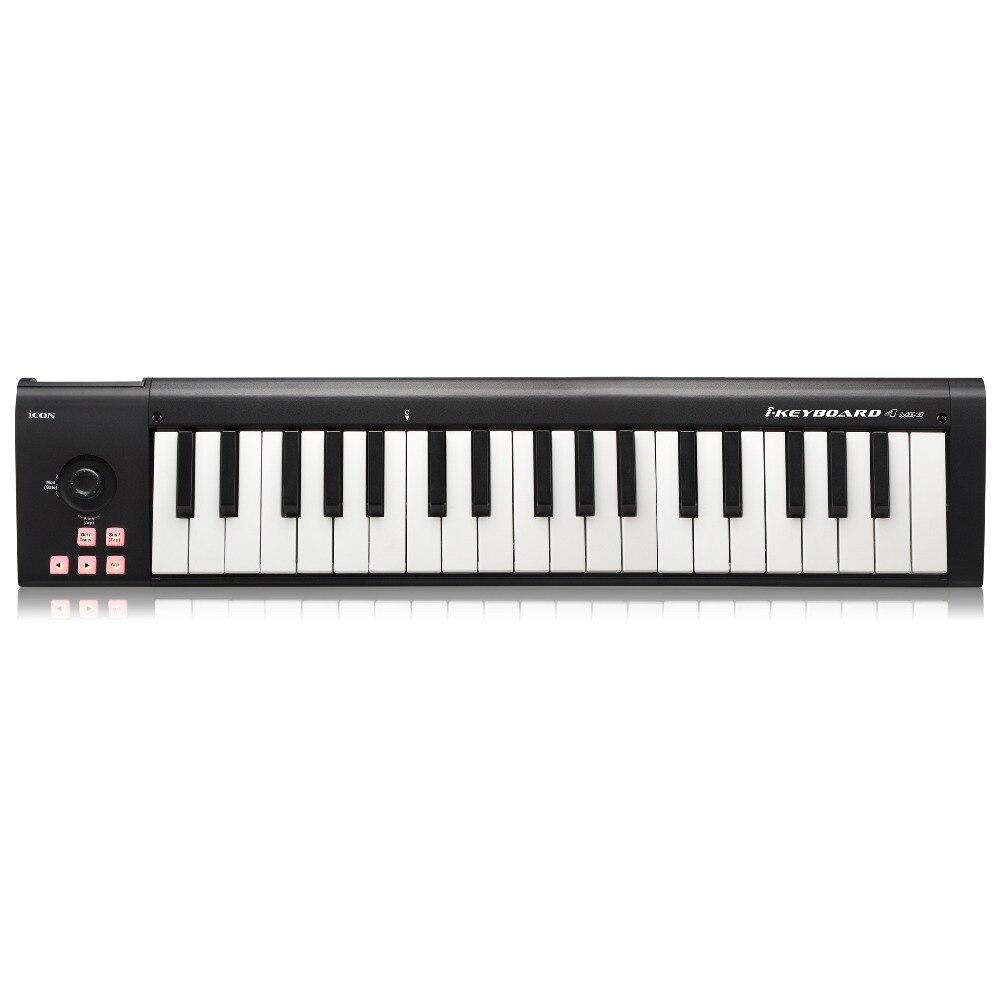 ICON iclavier 4 mini 37 touches sensibles à la vitesse touches de style piano contrôleur USB MIDI clavier prend en charge le logiciel DAW-in Microphones from Electronique    1