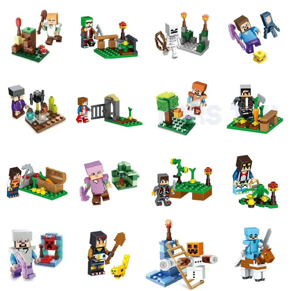 Single Sale HOT Minecrafted Action Figures Toys Steve Alex Witch Zombie Skeleton Compatible LegoINGlys Blocks DIY Series 8IN1