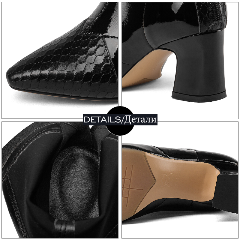 Femmes Femme Épais Li Haute Verni Bout Noir Isnom Cuir Mao En Li Li Mode Bottes Chaussures Talons Pointu Stretch Zip Hiver Black caramel Boot Dan black RtOwwf