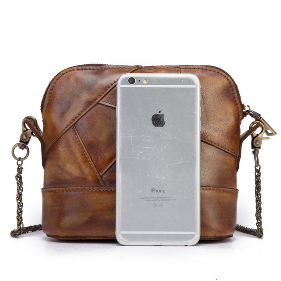 New Vintage Trend Women Genuine Leather Cowhide Stitching Shoulder Messenger Bag Casual Tanned Leather Crossbody Bags